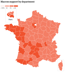 Macron support by department
